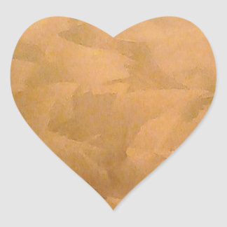 Mano metálica de cobre cepillada pegatina en forma de corazón
