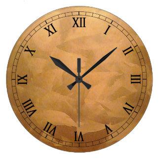 Mano metálica de cobre cepillada reloj redondo grande