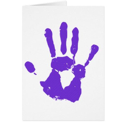 Mano púrpura tarjetas