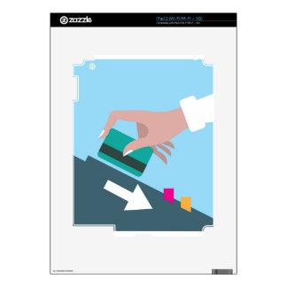 Mano que birla la tarjeta de crédito skin para el iPad 2