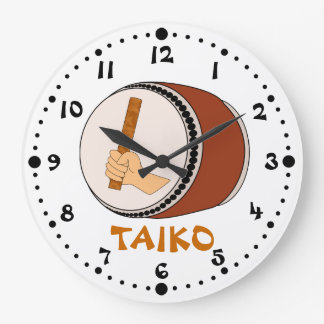 Mano que celebra teclear japonés del tambor de reloj redondo grande