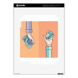 Mano que da vector de la tarjeta del dinero y de pegatinas skins para iPad 3