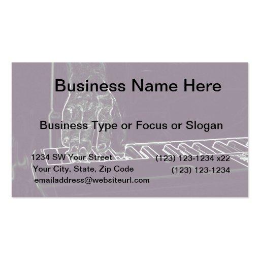 mano que juega el esquema blanco púrpura de la tin plantillas de tarjeta de negocio