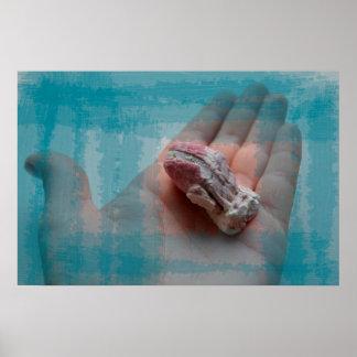 mano que sostiene el trullo del seashell de la posters
