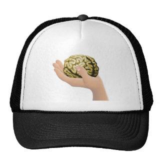 Mano que sostiene un cerebro gorros
