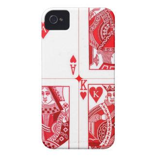 Mano real de las tarjetas de los corazones por Sha Case-Mate iPhone 4 Protectores