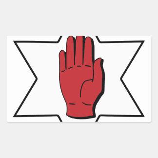 Mano roja de Ulster Pegatina Rectangular