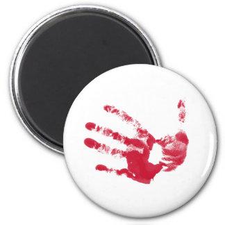Mano sangrienta imán redondo 5 cm
