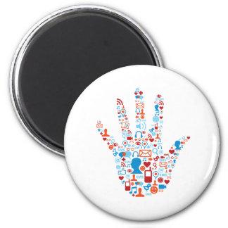 Mano social de la red imán redondo 5 cm