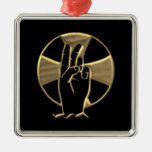 """Mano """"tridimensional"""" de oro de dios 2 ornamentos de navidad"""