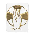 """Mano """"tridimensional"""" de oro de dios 2 imán rectangular"""