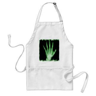 Mano verde del esqueleto de la radiografía delantal