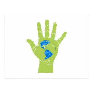mano verde globo terráqueo globe green hand postal