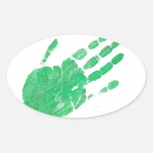 Mano - verde pegatina ovalada