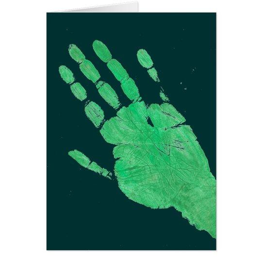 Mano - verde tarjeta de felicitación