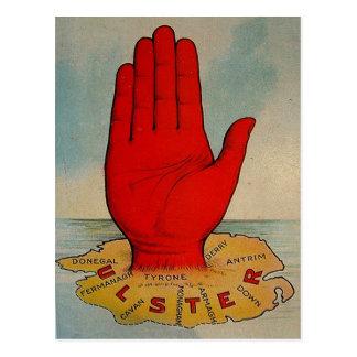 Mano y mapa rojos de Ulster Postales