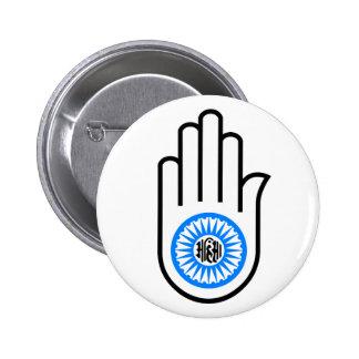 Mano y rueda Ahimsa de lectura del símbolo del jai Pins