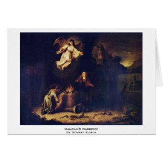Manoah'S Sacrifice By Govert Flinck Greeting Cards