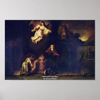 Manoah'S Sacrifice By Govert Flinck Print