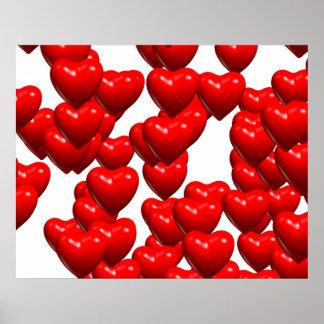 Manojo al azar de los corazones rojos de la tarjet posters