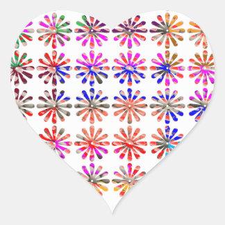 Manojo artístico de flores CADA UNO pintado Pegatina En Forma De Corazón