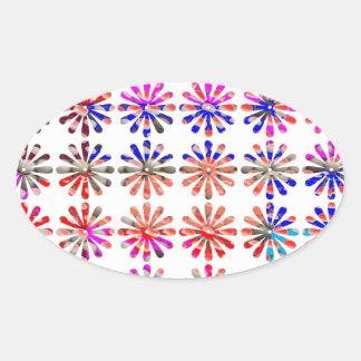 Manojo artístico de flores CADA UNO pintado Pegatina Ovalada