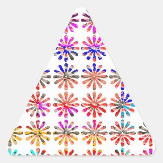 Manojo artístico de flores CADA UNO pintado Pegatina Triangular