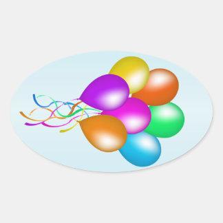 Manojo brillante colorido de globos pegatina oval personalizadas