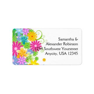 Manojo colorido de la flor de Pascua Etiqueta De Dirección