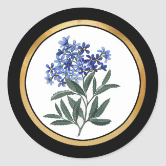 Manojo de flores azules etiqueta redonda