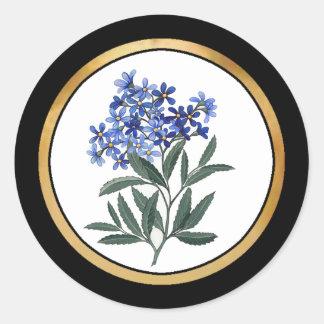Manojo de flores azules pegatina redonda