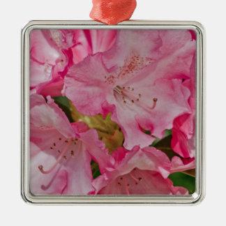 Manojo de flores salvajes rosadas adorno navideño cuadrado de metal