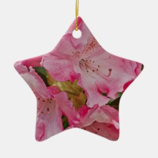 Manojo de flores salvajes rosadas adorno navideño de cerámica en forma de estrella