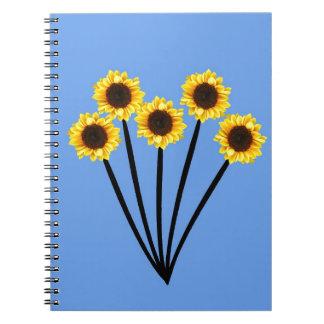 Manojo de girasoles soleados libro de apuntes con espiral