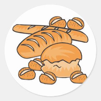 manojo de pan y de rollos pegatina redonda