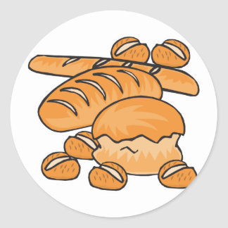 manojo de pan y de rollos pegatinas redondas