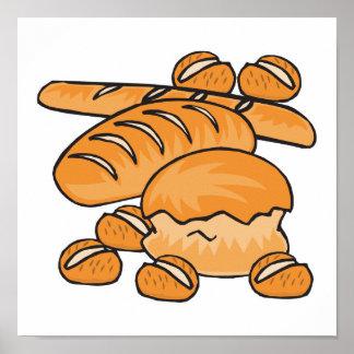 manojo de pan y de rollos póster