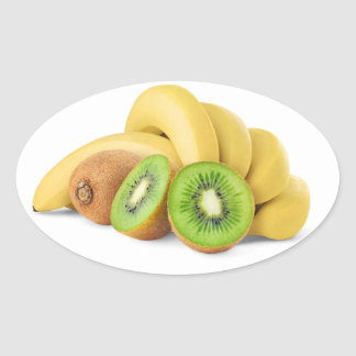 Manojo de plátano y de kiwis pegatina ovalada