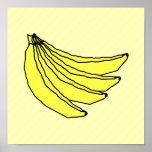 Manojo de plátanos amarillos posters