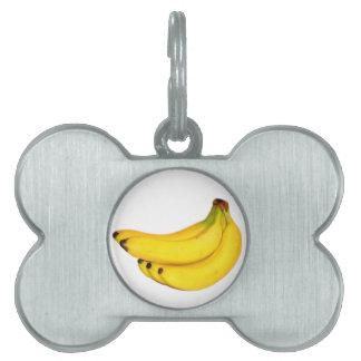 Manojo de plátanos placa de nombre de mascota