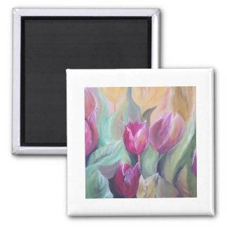 manojo de tulipanes imán cuadrado