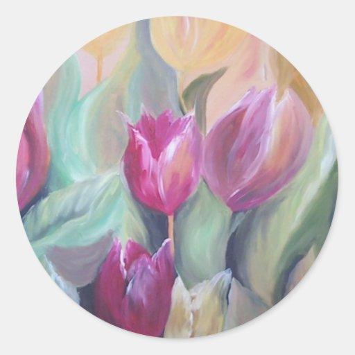 manojo de tulipanes pegatina redonda