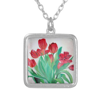 Manojo de tulipanes rojos colgante cuadrado