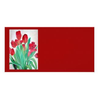 Manojo de tulipanes rojos tarjeta con foto personalizada