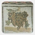 Manojo de uvas blancas, mosaico romano pegatina cuadrada