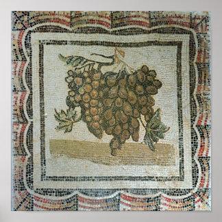 Manojo de uvas blancas, mosaico romano póster