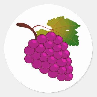 Manojo de uvas pegatinas redondas
