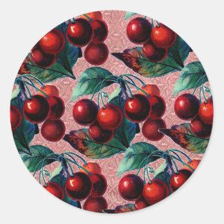 Manojo del vintage de diseño antiguo de la fruta etiqueta redonda