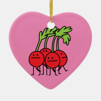 ¡Manojo feliz del rábano - rábanos que son Adorno Navideño De Cerámica En Forma De Corazón