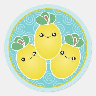 Manojo fresco de pegatinas de Kawaii de los limone